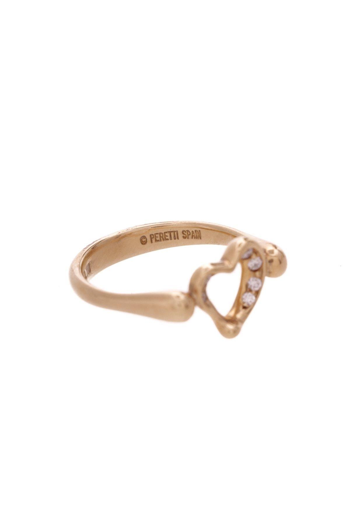 Tiffany & Co Gold 18k Elsa Peretti Diamond Open Heart Ring Tradesy