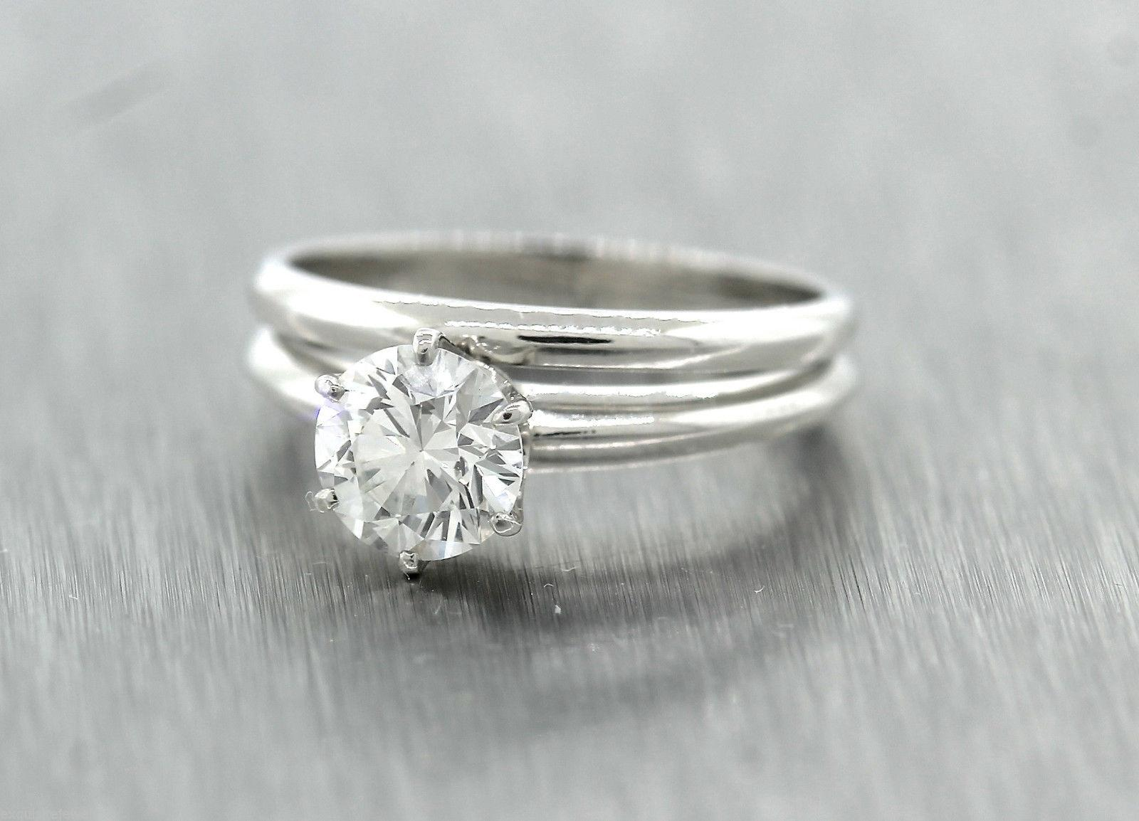 Tiffany Co Platinum 096ct Diamond Solitaire Engagement Wedding