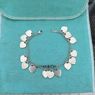 Tiffany & Co. Please Return To Tiffany & Co. Silver Mini Multi Heart Dangle Bracelet