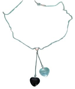 Tiffany & Co. RARE Tiffany & Co Silver Onyx Crystal Gemstone Two Heart Dangle Necklace Pendant FULL PACKAGING!