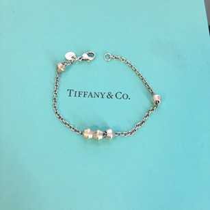 Tiffany & Co. Silver Barrel Ball Beaded Bead By The Yard Chain Bracelet POUCH