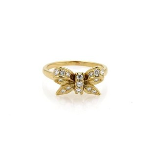 Tiffany & Co. Tiffany Co. Diamond 18k Yellow Gold Ribbon Bow Ring