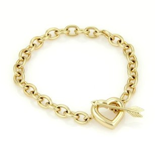 Tiffany & Co. Tiffany Co. 18k Yellow Gold Chain Link Arrow Heart Toggle Clasp Bracelet