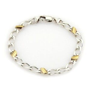 Tiffany & Co. Tiffany Co 18k Yellow Gold 925 Sterling Silver Curb Link Bracelet