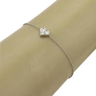 Tiffany & Co. Tiffany Co. Platinum Diamond Heart Charm Bracelet 6.5