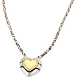 Tiffany & Co. Tiffany Co. 18k Yellow Gold 925 Silver Slide Heart Puzzle Pendant Necklace