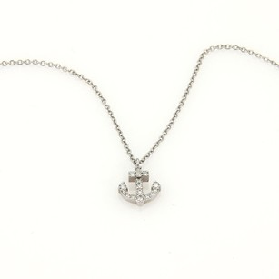 Tiffany & Co. Tiffany Co.18k White Gold Pave Diamond Nautical Anchor Pendant Necklace