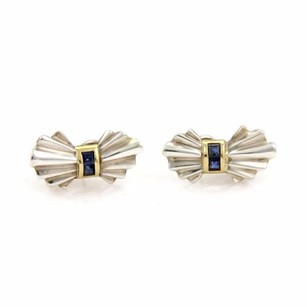 Tiffany & Co. Vintage Tiffany Co. Sapphire Silver 18k Yellow Gold Bow Post Clip Earrings