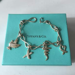 Tiffany & Co. Tiffany & Co Paloma Picasso Silver Dove Kiss Heart Scribble Charm Bracelet FULL PACKAGING!!