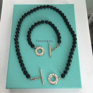 Tiffany & Co. Tiffany & Co Silver Black Onyx Round Ball 8mm Bead Toggle Necklace and Bracelet SET BOX POUCH