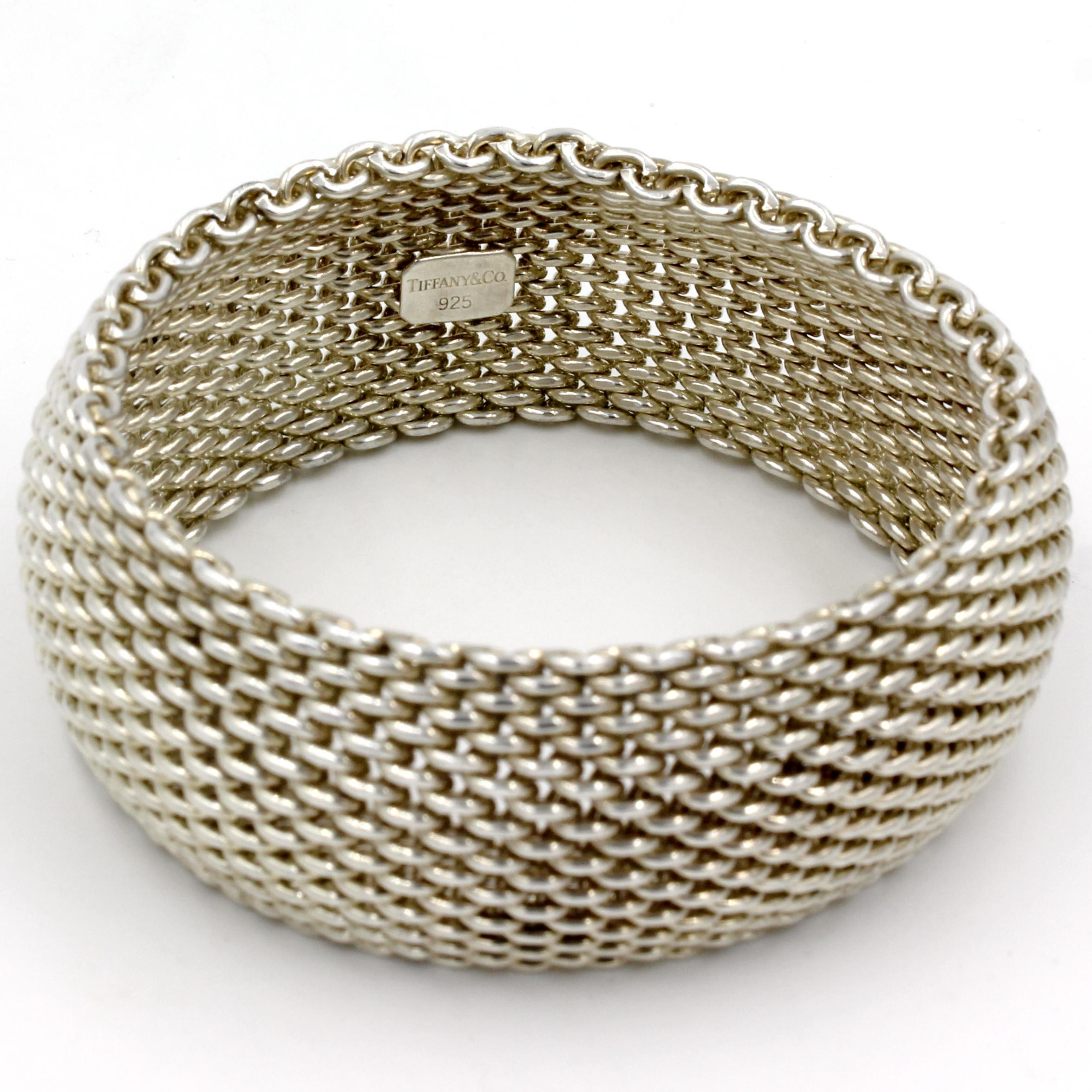 Tiffany & Co. Somerset Wide Bangle Mesh Bracelet in Sterling Silver -  Tradesy