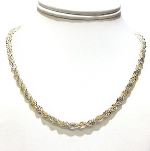 Tiffany & Co. Tiffany & Co Vintage 18K Gold & Sterling Silver Rope Necklace 24