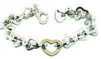 Tiffany & Co. TIFFANY & CO.18K GOLD 925 STERLING SILVER HEART LINK CHAIN BRACELET