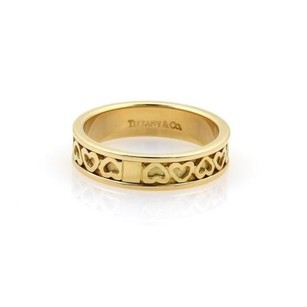 Tiffany & Co. Tiffany Co. 18k Yellow Gold Hearts Eternity Band Ring Italy