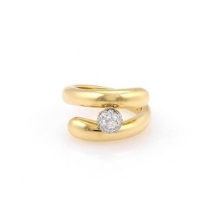 Tiffany & Co. Tiffany Co. 18k Yellow Gold Platinum Pave Diamond Bypass Ring -
