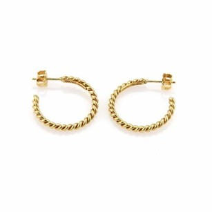 Tiffany & Co. Tiffany Co. 18k Yellow Gold Twisted Wire Semi Hoop Earrings