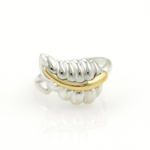 Tiffany & Co. Tiffany Co. 925 Silver 18k Yellow Gold Nature Leaf Band Ring
