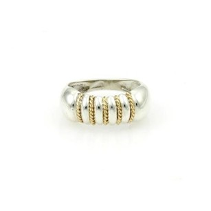 Tiffany & Co. Tiffany Co. 925 Silver 18kt Yellow Gold Ribbed Design Ladies Ring