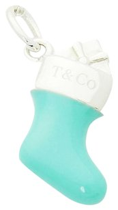 Tiffany & Co. Tiffany Co 925 Sterling Silver Blue Enamel Stocking Sock Charm Pendant N228
