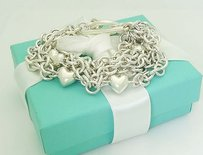 Tiffany & Co. Tiffany Co. 925 Sterling Silver Chain Heart Charms Toggle Bracelet B112
