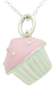 Tiffany & Co. Tiffany Co. 925 Sterling Silver Pink Enamel Cupcake Pendant On 16 Chain N307