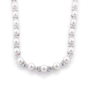 Tiffany & Co. Tiffany Co. Aria 4.91ct Diamonds Platinum Akoya Pearl Necklace