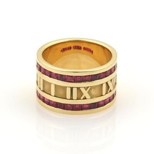 Tiffany & Co. Tiffany Co Atlas 1.75ct Ruby Roman Numeral 18k Yellow Gold Band Ring 6.25