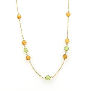 Tiffany & Co. Tiffany Co. Citrine Peridot Faceted Bead 18k Gold Necklace