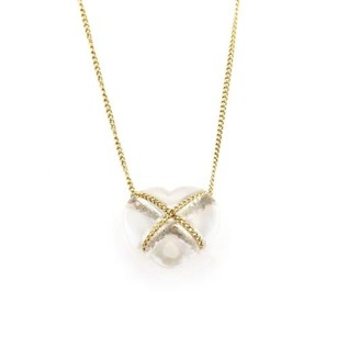 Tiffany & Co. Tiffany Co. Clear Quartz 18k Yellow Gold Crossover Heart Pendant Necklace