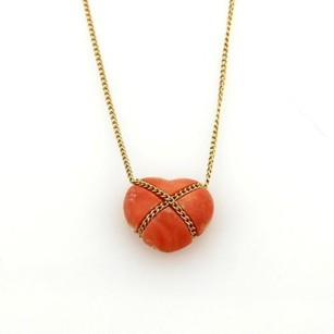 Tiffany & Co. Tiffany Co. Coral 18k Yellow Gold Crossover Heart Pendant Necklace