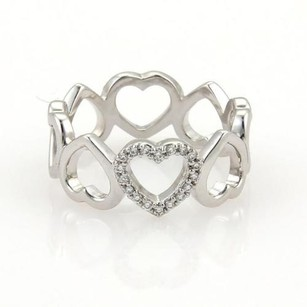 Tiffany & Co. Tiffany Co. Diamonds 18k White Gold Open Hearts Band Ring