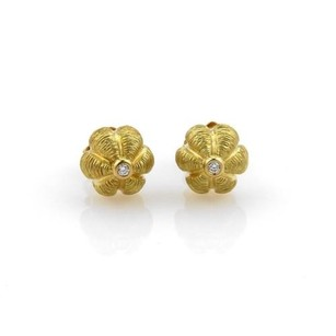 Tiffany & Co. Tiffany Co. Diamonds 18k Yellow Gold Textured Dome Floral Stud Earrings