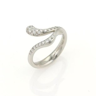 Tiffany & Co. Tiffany Co. Elsa Peretti Diamonds Platinum Snake Bypass Design Ring 5.25
