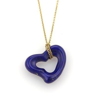 Tiffany & Co. Tiffany Co. Elsa Peretti Lapis 18k Yellow Gold Open Heart Pendant Necklace
