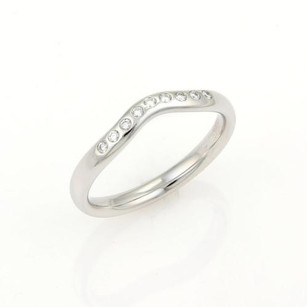 Tiffany & Co. Tiffany Co. Elsa Peretti Platinum Diamond 3mm Curved Wedding Band Ring