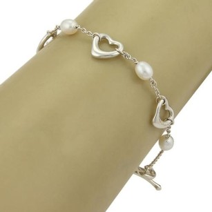 Tiffany & Co. Tiffany Co. Elsa Peretti Sterling Silver Pearls Open Heart Toggle Bracelet