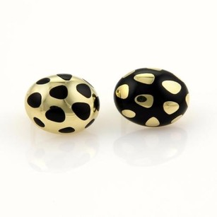 Tiffany & Co. Tiffany Co. Enamel 18k Yellow Gold Reverse Design Polka Dot Oval Earrings