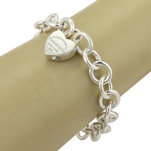 Tiffany & Co. Tiffany Co. Enamel Please Return To Tiffany Heart Lock Charm Sterling Bracelet