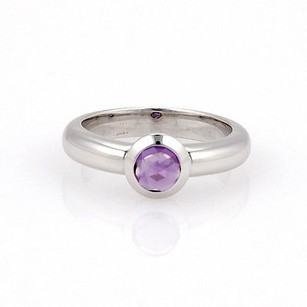 Tiffany & Co. Tiffany Co. France 18k White Gold Bullet Shape Amethyst Solitaire Ring