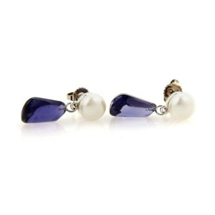 Tiffany & Co. Tiffany Co. Iolite Pearls 18k White Gold Drop Dangle Earrings