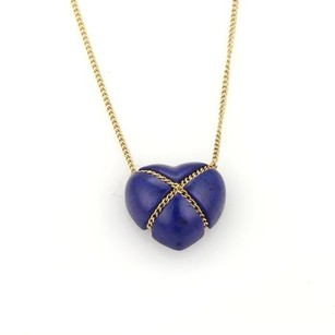 Tiffany & Co. Tiffany Co. Lapis 18k Yellow Gold Crossover Heart Pendant Necklace
