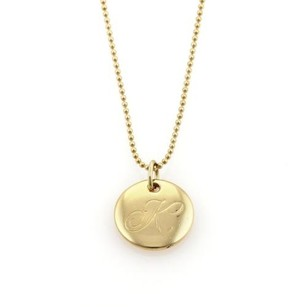 Tiffany & Co. Tiffany Co. Notes 18k Yellow Gold Letter K Round Pendant Necklace