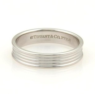 Tiffany & Co. Tiffany Co. Platinum 5mm Wide Ribbed Wedding Band Ring 10.25