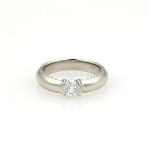 Tiffany & Co. Tiffany Co. Platinum Diamond Solitaire Band Ring Wbox Cert.
