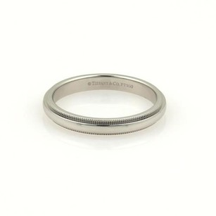 Tiffany & Co. Tiffany Co. Platinum Double Milgrain 4mm Wide Wedding Band Ring 7.75