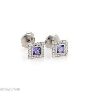 Tiffany & Co. Tiffany Co. Platinum Iolite And Diamond Square Stud Earrings