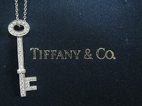 Tiffany & Co. Tiffany Co Platinum Tiffany Keys Oval Tiffany Key Pendant .23ct