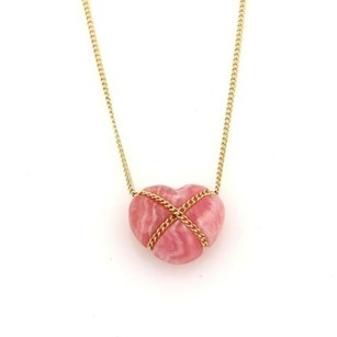 Tiffany & Co. Tiffany Co. Rhodanite 18k Yellow Gold Crossover Heart Pendant Necklace