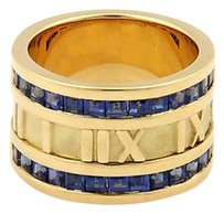 Tiffany & Co. Tiffany Co. Sapphires 18k Yellow Gold 12mm Atlas Numerical Band Ring-