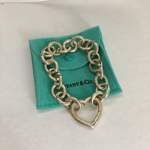 Tiffany & Co. Tiffany Co Silver Heart Clasp Clasping Link Bracelet w/ POUCH!!